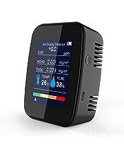 Desktop Co2-mätare Koldioxiddetektor Inomhusluftkvalitetsmonitorn Temperatur Och Relativ Fuktighetsdetektor För Bilgymnastikrum Klassrum,Black