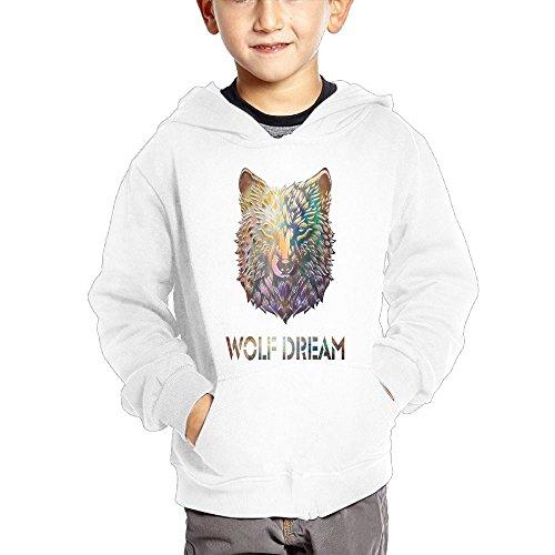 Wolf Dream Geometric Cartoon Boys Pullover Hoodies Long Sleeve Sweatshirt With Big Pockets