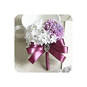 Silk Flower Arrangements Fashion Hydrangea Wrist Corsage Bridesmaid Sisters Hand Flowers Artificial Bride Flowers for Wedding Party,1Piece Corsage6