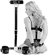 Neck to Wrist Restraints kit, Sexy Slave Frisky Beginner Behind Back Handcuffs Collar, Adjustable Bondage Set,