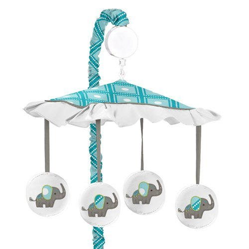 Sweet Jojo Designs Turquoise White and Gray Mod Elephant Girl or Boy Musical Baby Crib Mobile