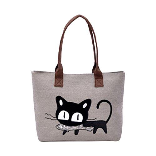 Bag Women Gray New Shoulder Office Cute Bag Purple Fashion Lunch Bag Canvas Cat Bag Kolylong p4fqFUT