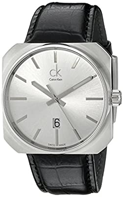Calvin Klein Men's K1R21120 Solid Analog Display Swiss Quartz Black Watch