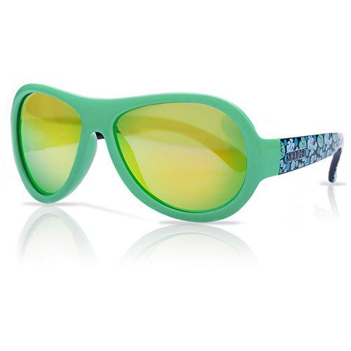 SHADEZ Kids Flex Frame Designer Aviator Sunglasses - Tropical, Green, 7-15 Years - 100% UV Protection for Baby, Children and Teens (Tropical Sonnenbrille)