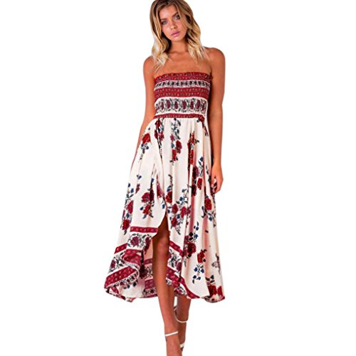 Price comparison product image Hot Sale!Women Long Dress,Canserin Women's Boho Off Shoulder Long Maxi Evening Party Beach Dress Floral Sundress (XL, Red)
