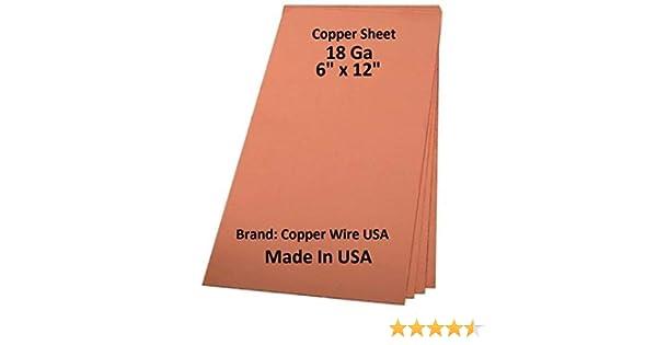 "Made In USA Copper Sheet Metal 22 Ga  4/"" x 12/"" Genuine Solid Copper SOFT"