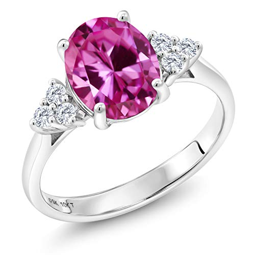 (Gem Stone King 10K White Gold 1.12 Ct Oval Pink Created Sapphire G/H Lab Grown Diamond Ring (Size 9))