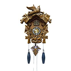 BANDA Wooden Cuckoo Clock House and Pendulum, Bird Sitting a Top, Quartz Movement, Cuckoos Every Hour, Manual Volume Control