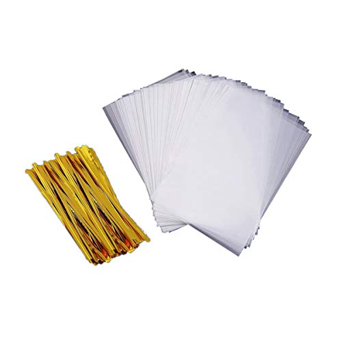 (Lollipop Wrap Bags 200 PCS Clear Treat Bags for Party Favor Candies Goodies Bags with 200 PCS Metallic Twist Ties (3