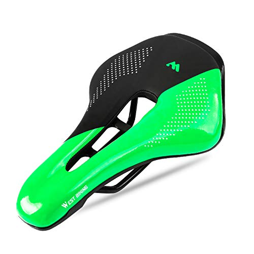 West Biking Ultralight Bike Saddle, Non-Slip Extra Comfort Water-Resistant Soft Bicycle Cushion with Breathable Design for Men Women Road BMX Cycling Seat (Dark-Green)