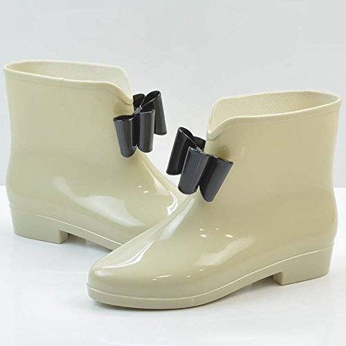 Bowknot Buckle Shoes Apricot High Jelly Anti Waterproof Ankle Rubber Boot Rain Slip Women's Rain gwqUFCnOU