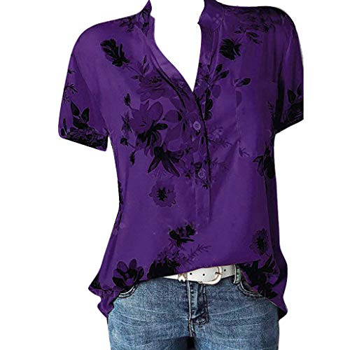 POQOQ Top Shirt Women Printing Pocket Plus Size Short Sleeve Paisley Print Blouse(Purple,XL)]()