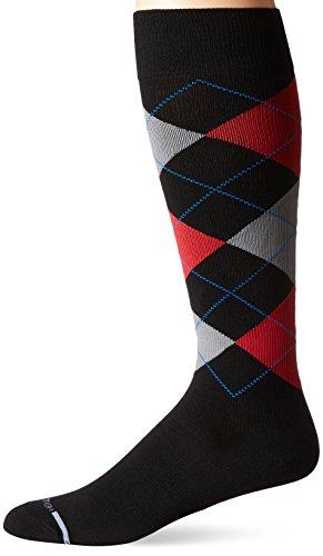 Dr. Motion Men's Dr.Motion Argyle Compression Knee Sock, Black/Red, Sock Size:10-13/Shoe Size: 6-12 (Mens Argyle Socks Knee High)