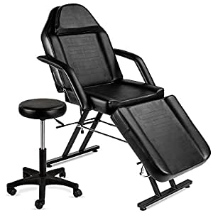 Best Choice Products 71in 3-Section Multipurpose Massage Bed, Spa & Salon Facial, Tattoo Chair w/Hydraulic Stool, Removable Headrest, Facial Cradle, Towel Hanger - Black