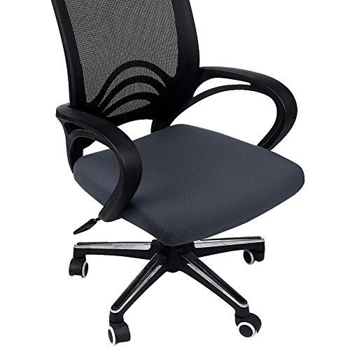 Homaxy Premium Jacquard Office Computer Chair Seat Cover, Spandex Stretch Desk Chair Seat Cushion Covers, Durable Protectors, Dark Gray Slipcover