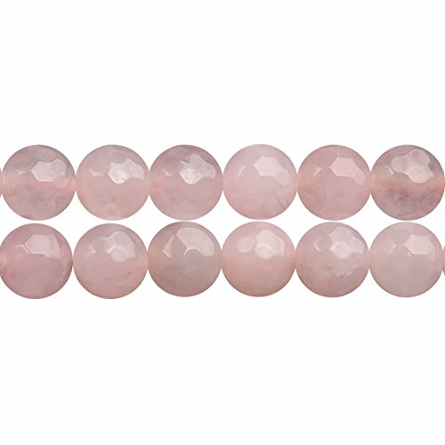 SKYBEADS Faceted Genuine Pink Rose Quartz Crystal Beads 10mm for Jewelry Craft Making Sold by One Strand 15 inches APX 35 Pcs Hole Size 1-1.5mm