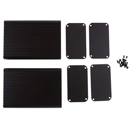 Prettyia 2Pcs Full Aluminum Enclosure Case Amplifier Box Chassis 3.15x1.8x4.5inch ()