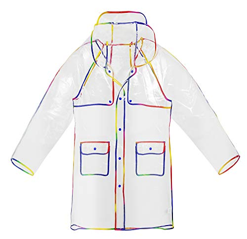 Mother and Children Transparent with Colorful Edge Fashion Raincoat,Adult (Vinyl Jacket)
