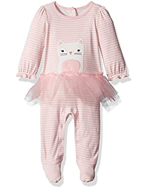 Baby Cat Striped Onepiece with Tulle