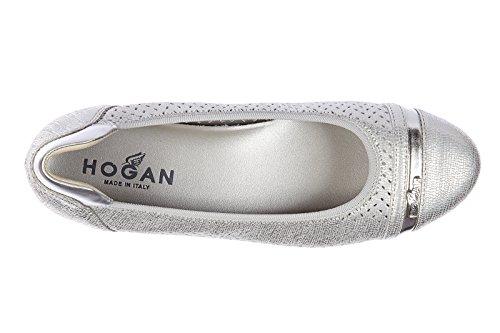Hogan ballerines femme en cuir neuves wrap 144 argent