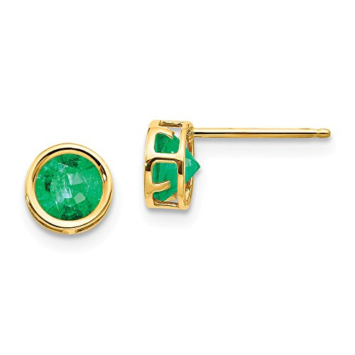 14k Yellow Gold 5mm Bezel Green Emerald Stud Earrings Birthstone May Gemstone Fine Jewelry Gifts For Women For Her
