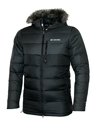 Coat Fill Jacket (Columbia Mens Northridge Lodge 700 fill Down Hooded Omni Heat Winter Puffer Jacket (Black, L))