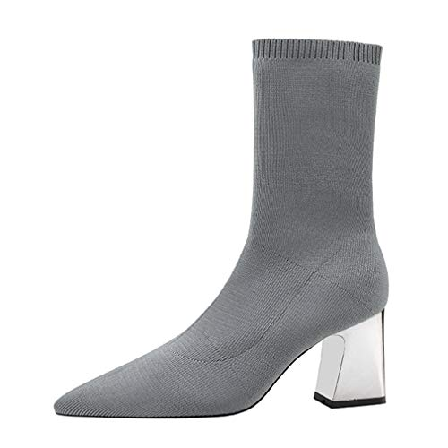 9794e0c17 CYBLING Womens Chunky Block Heel Sock Boots Pointed Toe Knitted Stretch  Sports Ankle Boots Grey