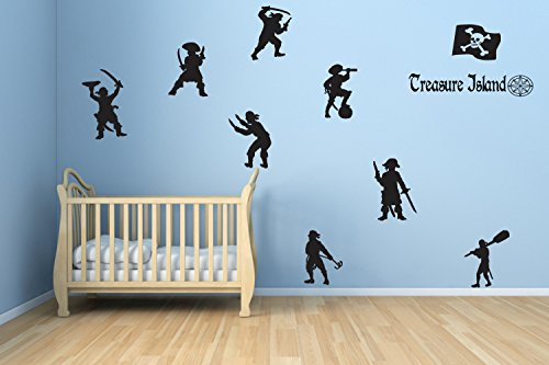 - Wall Vinyl Sticker Pirate Set Pirates Treasure Island Set Map Sea Ocean Ship Adventure Fairy Tale Cartoon Character Girl Boy Nursery Kids Room Poster Art SA1463