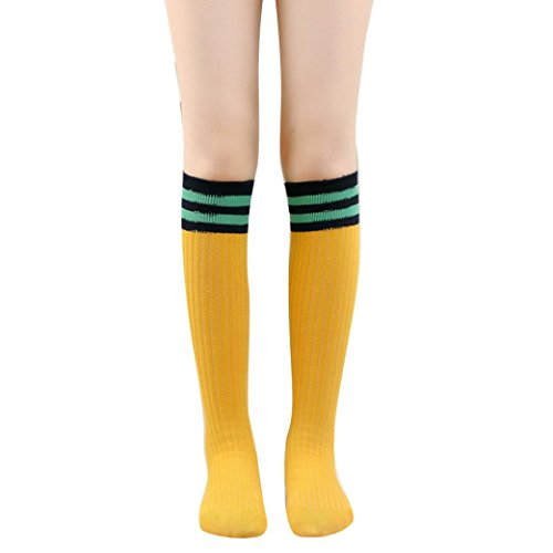 Kid's Long Socks TOOPOOT Sport Football Knee High Sock Preppy Style Socks (yellow1)