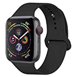 YANCH Compatible with for Apple Watch Band 38mm 40mm, Soft Silicone Sport Band Replacement Wrist Strap Compatible with for iWatch Nike+,Sport,Edition,S/M,Black