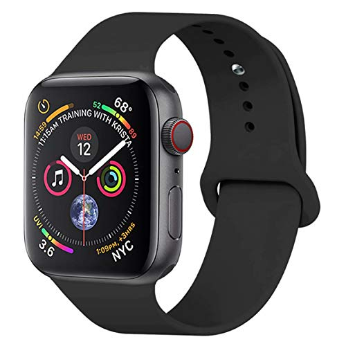 Material High Quality Durable - YANCH Compatible with for Apple Watch Band 38mm 40mm, Soft Silicone Sport Band Replacement Wrist Strap Compatible with for iWatch Nike+,Sport,Edition,M/L,Black
