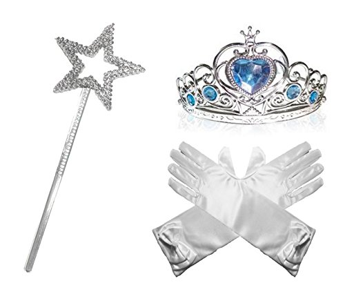 Princess Dress up Party Accessories - 3 Piece Set: Gloves, Tiara and Wand (White Design)