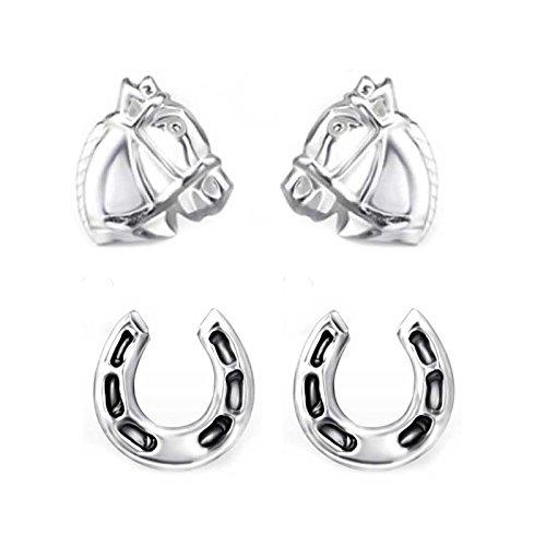 Conjunto de dos pendientes SL-Silver con forma de caballo y herradura de plata de ley 925 en cajita de regalo