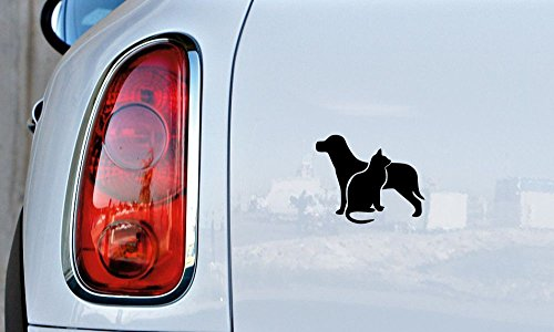Dog Cat Combination Silhouette Version 2 Car Vinyl Sticker Decal Bumper Sticker for Auto Cars Trucks Windshield Custom Walls Windows Ipad Macbook Laptop and More -