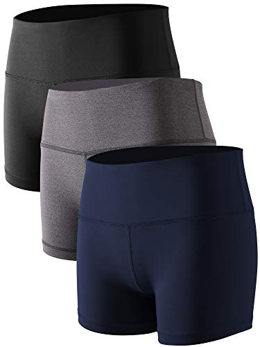 Athletic Spandex Tights - Cadmus Women's High Waist Athletic Sport Workout Shorts with Pocket,3 Pack,05,Black,Grey,Navy Blue,X-Small