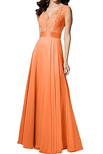 Orange V Ballkleider Spitze Lang Festkleid Abendkleider Ivydressing Ausschnitt Lang Promkleid Damen HRwqpxva