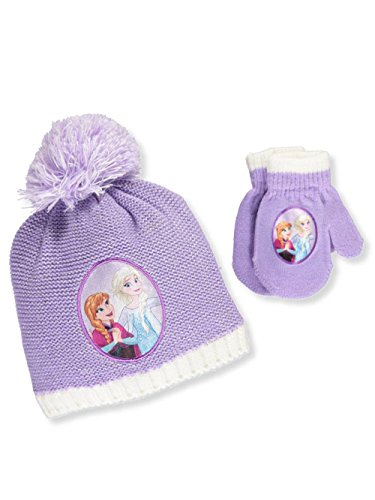 Disney Frozen Elsa Anna Girls Beanie Hat and Mittens Set (Lilac)