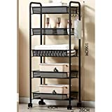 Kitchen shelf HUO Sturdy Rolling Cart Multifunction Home (Black) - 3/4/5 Layer Multifunction (Size : 4526106cm)