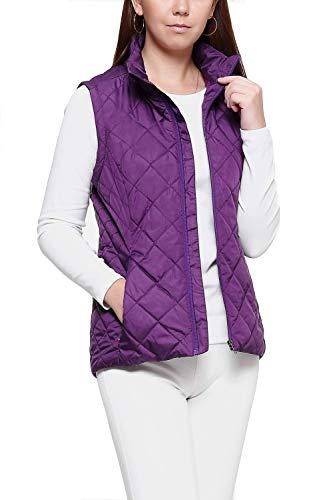 (More Golooper Women's Vest-Lightweight Quilted High Collar Zip Vest Padded Gilet(Purple, XL))
