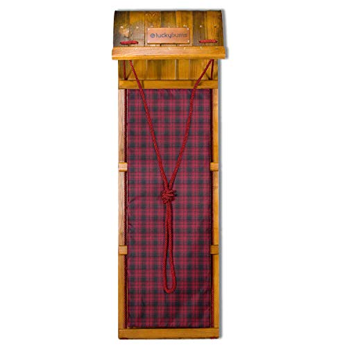 (Lucky Bums Heirloom Collection Wooden Toboggan with Plaid Pad, Wood, 48- Inch)