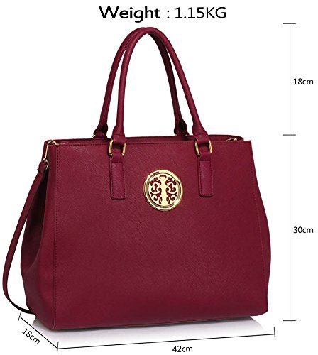 Female Faux Womens Ladies New Large Shoulder Designer Style Look Handbags New Design Extra 1 Leather Bags Bags Burgundy wq4qPt