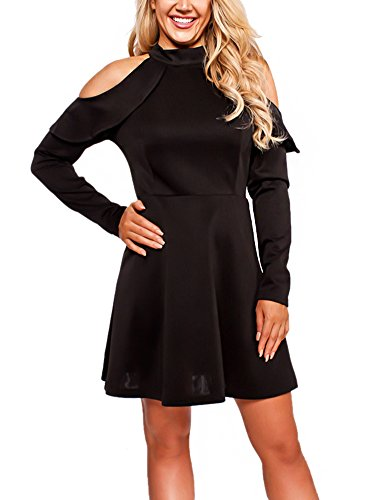 Black Halter Flounce Dress - PrettySoul Women's Halter Neck Long Sleeve Off Shoulder Fit and Flare A-Line Cocktail Party Swing Dress Black, Medium