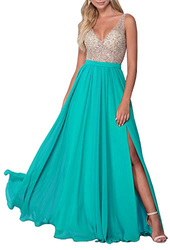 Women's Sleeveless Beaded Prom Dress A-line Split Chiffon Formal Evening Gown - Neck Split Dress Beaded