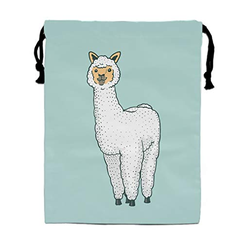 Cute Alpaca Llamas Or Wild Guanaco Drawstring Bags Party Favors Bags(1 Pack), Personalised Birthday Fabric Party Goodie Bag Gift for Kids Boys & Girls ()