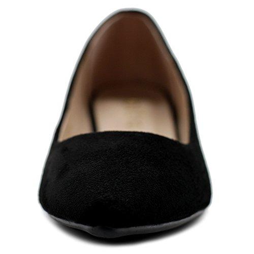 Ollio Womens Ballets Comfort Light Faux Suede Multi Color Shoes Flat ZM1038(7 B(M) US, Black) by Ollio (Image #3)