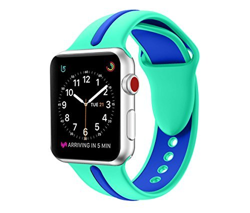 EloBeth for Apple Watch Band 42mm, Soft Silicone Sport Replacement Wrist Strap Stripe Color Splicing for Apple Watch Series 3/2/1 Nike+ Sport Edition Smart IWatch by EloBeth