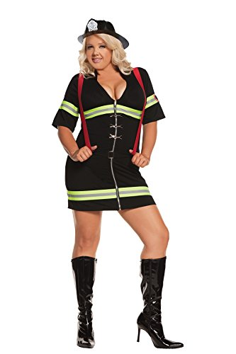 Sexy Ms. Blazin' Hot Firefighter Adult Roleplay Costume, 3X/4X, Black (Slutty Firefighter Costume)