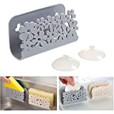 ESFD2C Storage Holder for Sponges Soaps Scrubbers Quick Drying Wire Basket Design Bathroom Kitchen Sink Caddy Suction Cups Rack (Gray)