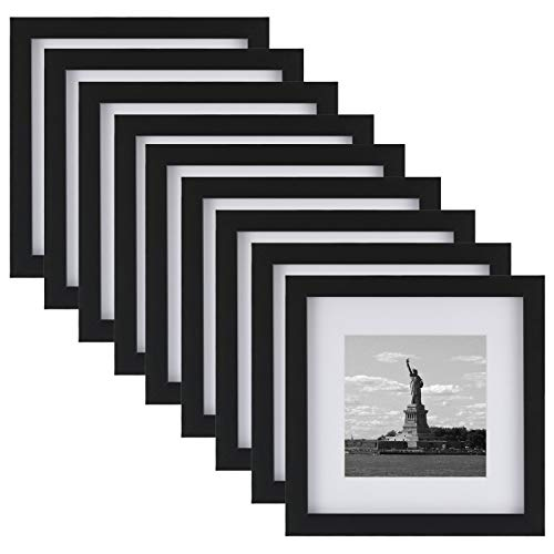 4x5 Mat - ONE WALL Tempered Glass 8x8 Picture Frame with Mats for 5x5, 4x4 Photo, Black Wood Frame for Wall and Tabletop - Mounting Hardware Included