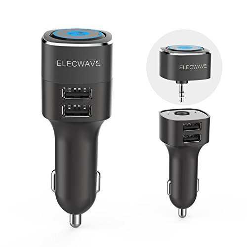 Elecwave Hands-Free Phone Call Car kit & Music Streaming Receiver with Dual USB Car Charger 4.8A/5V + 3.5mm Aux Input for Home/Car Stereo Audio System + Magnetic Mounts EB06 (Total Vehicle System)